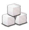pile of sugar cubes of refined sugar isolated on vector image