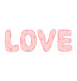 pink love text calligraphy romantic design vector image vector image