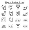 plug socket icon set in thin line style vector image