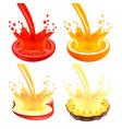 pouring juice splash on half fruit 3d vector image
