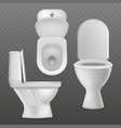 realistic toilet bowl white toilet basin clean vector image