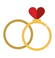romance two rings love heart wedding symbol vector image
