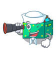 sailor with binocular kids toys in the cartoon box vector image