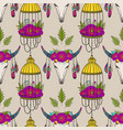 seamless pattern with cow skull and bird cage vector image vector image