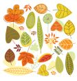 set autumnal leaves vector image