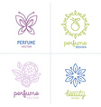 set of perfume and cosmetics logo design templates vector image vector image