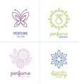 set perfume and cosmetics logo design templates vector image vector image