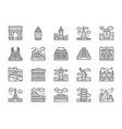set world landmark line icons egypt italy vector image