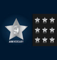 silver anniversary celebration with star shape vector image