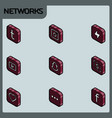 social network color outline isometric icons vector image