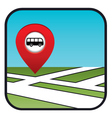 Street map icon with the pointer bus stop vector image