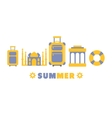 Summer Travel Symbols Set By Five In Line vector image vector image