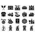 thanksgiving related solid icon set 1 vector image