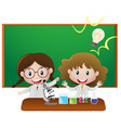 two girls in science classroom vector image vector image