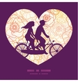warm flowers couple on tandem bicycle heart vector image vector image