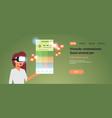 woman wear digital glasses using virtual reality vector image