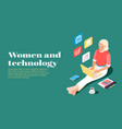 women and technology isometric banner
