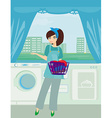 Young woman doing laundry at her home vector image vector image