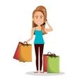 cartoon woman many bag gift shop graphic vector image