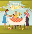 family easter dinner flat poster vector image