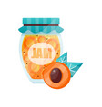 apricot jam glass jar of fruit confiture vector image