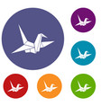 bird origami icons set vector image vector image