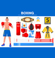 boxing sport equipment boxer garment accessory vector image
