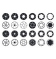camera shutter icons aperture and lens for focus vector image vector image