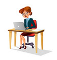 cartoon business woman at workplace laptop vector image vector image