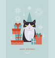 cat in hat with gift boxes idea for greeting card vector image vector image