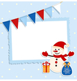 Christmas card with festive flags and snowman vector image vector image