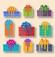 christmas holiday gift stickers set on a light vector image