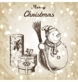 Christmas or New year hand drawn vector image vector image