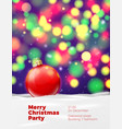 christmas poster template with red ball vector image vector image