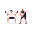 coach training male client making squat vector image vector image