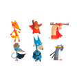 collection funny animals characters dressed as vector image vector image