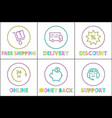 color icon set in linear design for e-commerce vector image