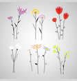 colorful polygonal floral objects set vector image vector image