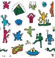 crazy cartoon pattern vector image vector image