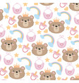 cute bear head with rainbow and bib background vector image