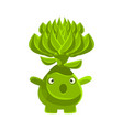 cute surprised succulent emoji cartoon emotions vector image vector image