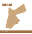 detailed map of jordan cut out of craft paper vector image