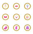 doll princess icons set cartoon style vector image