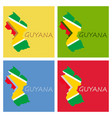 flag map of guyana vector image vector image