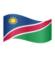 flag of namibia waving on white background vector image vector image