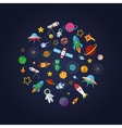 Flat design composition of space icons vector image vector image