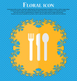 fork knife spoon Floral flat design on a blue vector image vector image