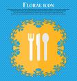 fork knife spoon Floral flat design on a blue vector image