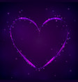 glowing purple heart on dark background vector image