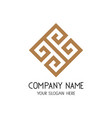 greek key logo symbol for business company vector image